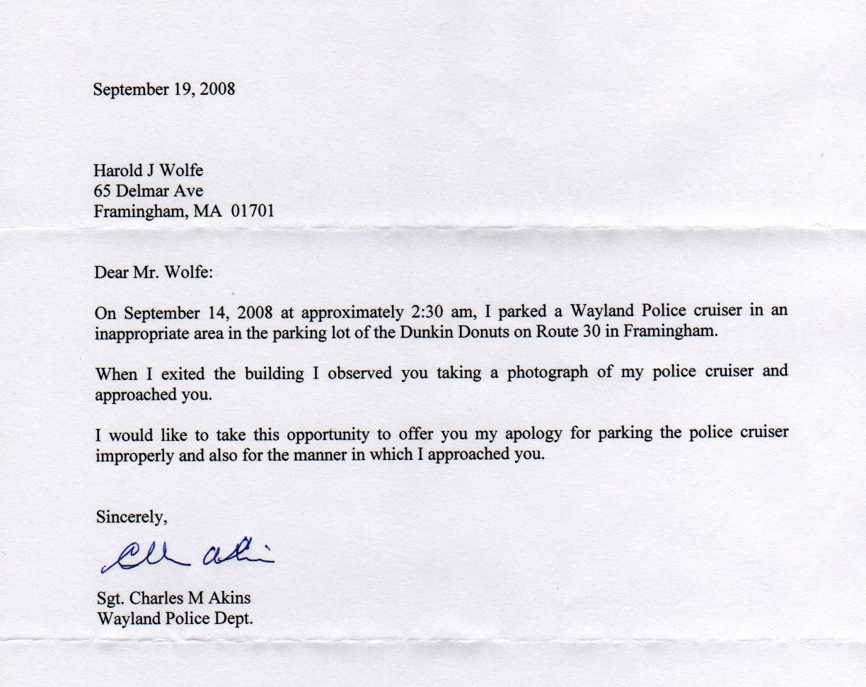 apology letter to police officer apology letter  jim
